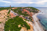 Aerial View of Gay Head Lighthouse and Gay Head Cliffs in Early Evening Light, Martha's Vineyard, Aquinnah, MA