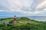 Aerial View of Gay Head Lighthouse in Late Evening Light, Martha's Vineyard, Aquinnah, MA