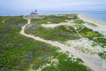 Aerial View of North Light and Sandy Point, Block Island, RI