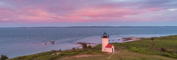 Aerial View of Tarpaulin Cove Lighthouse on Naushon Island at Sunset, Elizabeth Islands, Town of Gosnold, MA
