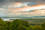 Sunrise over Rangeley Lake and Mountains, View from Rangeley Lakes Scenic Overlook, Rangeley Lakes National Scenic Byway, Rangeley, ME