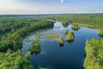 Aerial View of Harvard Pond in Spring, Petersham, MA