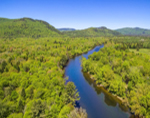 Aerial View of Magalloway River Flowing through Lake Umbagog National Wildlife Refuge in Spring, View from Magalloway, ME