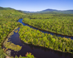 Aerial Vew of Magalloway River Flowing through Lake Umbagog National Wildlife Refuge in Spring, View from Wentworths Location, NH