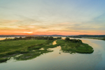 Aerial View of Summer Sunset over Nott Island and Connecticut River, Lyme, CT
