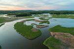 Aerial View of Salt Marshes along Lord Creek out to Deep Creek in Summer, off the Connecticut River, Lyme, CT