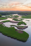 Aerial View of Salt Marshes along Lord Creek out to Deep Creek at Sunrise, off the Connecticut River, Lyme, CT