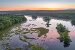 Aerial View of Sunrise over Harvard Pond in Spring, Petersham, MA