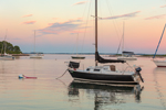 Sailboats in Pine Island Bay at Sunset, off Fishers Island Sound, Groton, CT