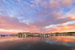 Sunrise over Boats at Dock at Shennecossett Yacht Club, Pine Island Bay, off Fishers Island Sound, Groton, CT