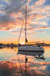 Dramatic Sunrise over Hunter Sailboat in Pine Island Bay, off Fishers Island Sound, Groton, CT