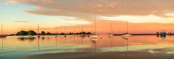 Sailboats in Pine Island Bay at Sunrise, off Fishers Island Sound, Groton, CT