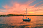 Sunset over Sailboat in Tarpaulin Cove, Naushon Island, Elizabeth Islands, Town of Gosnold, MA