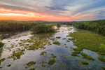 Aerial View of Sunset at Harvard Pond, Petersham, MA