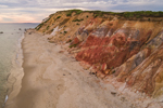 Aerial View of Moshup Beach and Clay Cliffs along Atlantic Ocean, Martha's Vineyard, Aquinnah, MA
