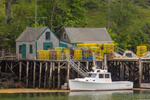 Lobster Boat and Lobster Shacks on Pier in New Harbor, Village of New Harbor, Bristol, ME