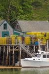 Lobster Boat and Lobster Shacks on Pier in New Harbor, Village of New Harbor, Bristol, ME