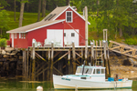 Lobster Boat with Red Lobster Shack on Pier in New Harbor, Village of New Harbor, Bristol, ME