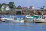 Lobster Boats and Cribstone Bridge (Bailey Island Bridge), View from Bailey Island, Town of Harpswell, ME