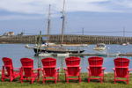 Line of Red Chairs and Schooner