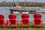 """Line of Red Chairs and Schooner """"Alert"""" in Will's Gut near Cribstone Bridge (Bailey Island Bridge), View from Bailey Island, Town of Harpswell, ME"""