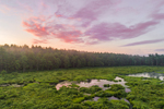 Aerial View of Sunrise over Wetlands and Tributary of Millers River in Birch Hill Recreation Area, Royalston, MA