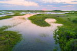 Aerial View of Sunset over Wetlands at Block Island National Wildlife Refuge, Great Salt Pond, Block Island, RI