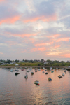 Aerial View of Sunrise over Boats in Mackerel Cove, Casco Bay Region, Bailey Island, Town of Harpswell, ME
