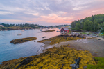 Sunrise over Boats and Lobster Shack in Mackerel Cove at Low Tide, Casco Bay Region, Bailey Island, Town of Harpswell, ME