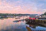 Sunrise over Boats and Lobster Shack in Mackerel Cove, Casco Bay Region, Bailey Island, Town of Harpswell, ME