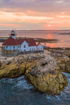 Aerial View of The Cuckolds Light Station at Sunset, The Cuckolds Islands, Southport, ME