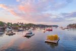 Sunrise over Boats in Mackerel Cove, Casco Bay Region, Bailey Island, Town of Harpswell, ME