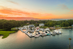 Aerial View of Sunset over Boats at Dock at Billington Cove Yacht Club, Village of Wakefield, South Kingstown, RI