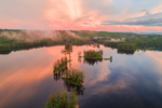 Aerial View of Colorful Sunset over Tully Lake, Royalston, MA