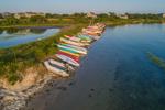 Late Evening Light Shines on Kayaks along Shoreline of Great Salt Pond, Block Island, RI