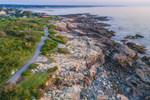 Aerial View of Early Morning Light Shining on Marginal Way along Atlantic Coast, Ogunquit, ME