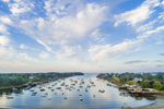 Aerial View of Boats in Mackerel Cove, Casco Bay Region, Bailey Island, Town of Harpswell, ME