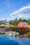 Boats and Lobster Shack on Mackerel Cove, Casco Bay Region, Bailey Island, Town of Harpswell, ME
