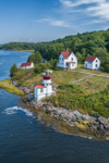 Aerial View of Squirrel Point Light Station on Kennebec River, Arrowsic, ME