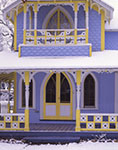 Close-up of Blue and Yellow Gingerbread House in Winter, Martha's Vineyard