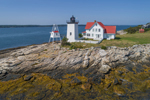 Aerial View of Hendricks Head Light Station at Mouth of Sheepscot River, Southport, ME