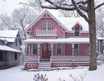 Pink Gingerbread House with Hearts in  Winter Snow, Martha's Vineyard