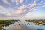 Aerial View of Early Morning Light over Boats in Mackerel Cove, Casco Bay Region, Bailey Island, Town of Harpswell, ME