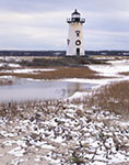 Edgartown Lighthouse with Winter Snow, Martha's Vineyard