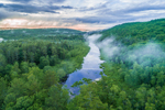 Aerial View of Long Pond on East Branch Tully River as it Flows through Lush Forests and Evening Ground Fog, Royalston, MA