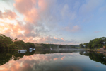 Cloud Reflections and Early Morning Fog over Boats in Lake Tashmoo at Sunrise, Vineyard Haven, Martha's Vineyard, Tisbury, MA