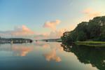 Cloud Reflections and Early Morning Fog over Boats in Lake Tashmoo at Sunrise, Vineyard Haven, Martha's Vineyard, Tisbury, MA