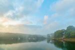 Early Morning Fog and Clouds over Boats in Lake Tashmoo, Vineyard Haven, Martha's Vineyard, Tisbury, MA