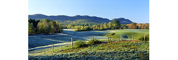 Heavy Frost on Farmland in Fall with Holyoke Range in Background