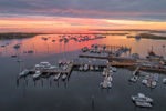 Aerial View of Colorful Sunrise over Boats in Cuttyhunk Pond, Cuttyhunk Island, Elizabeth Islands, Town of Gosnold, MA